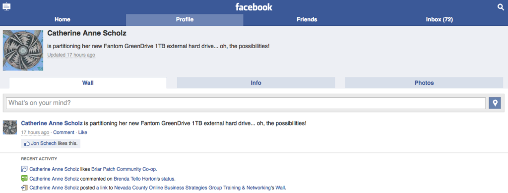 Screenshot of touch.facebook.com on my laptop